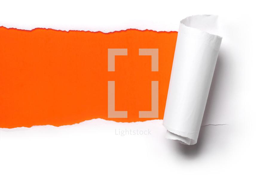 ripping paper orange