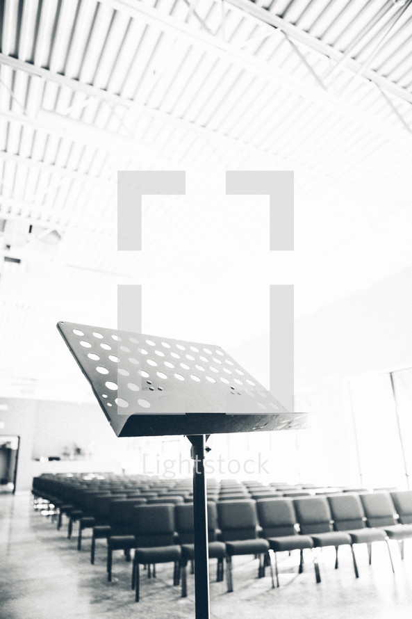 Church chairs and stand