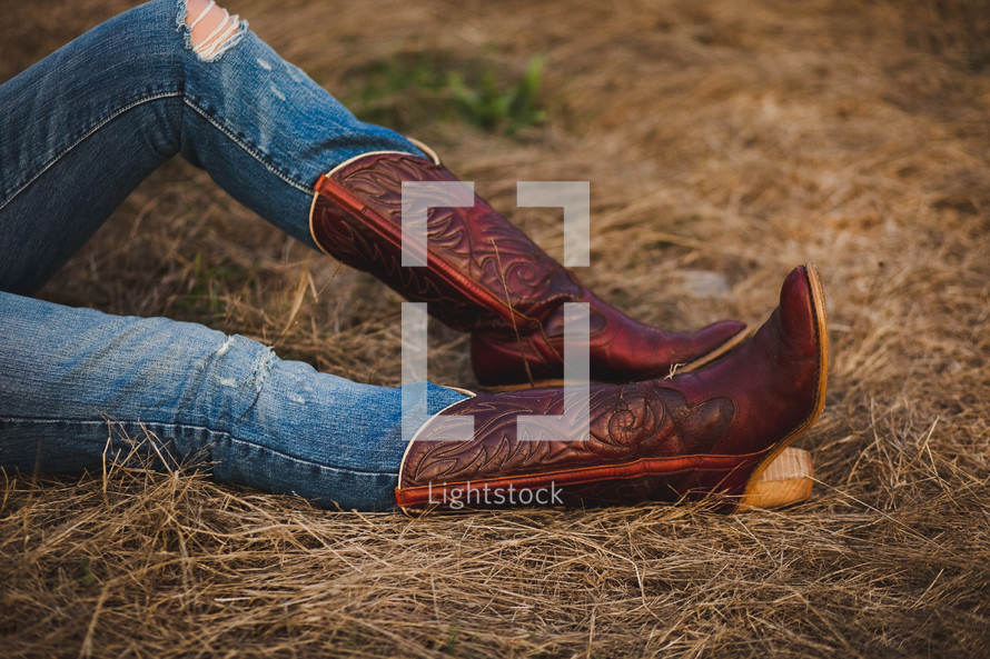 Woman in cowboy boots