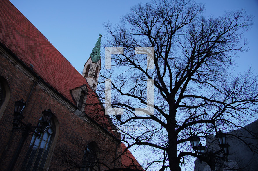 A church and a bare tree.