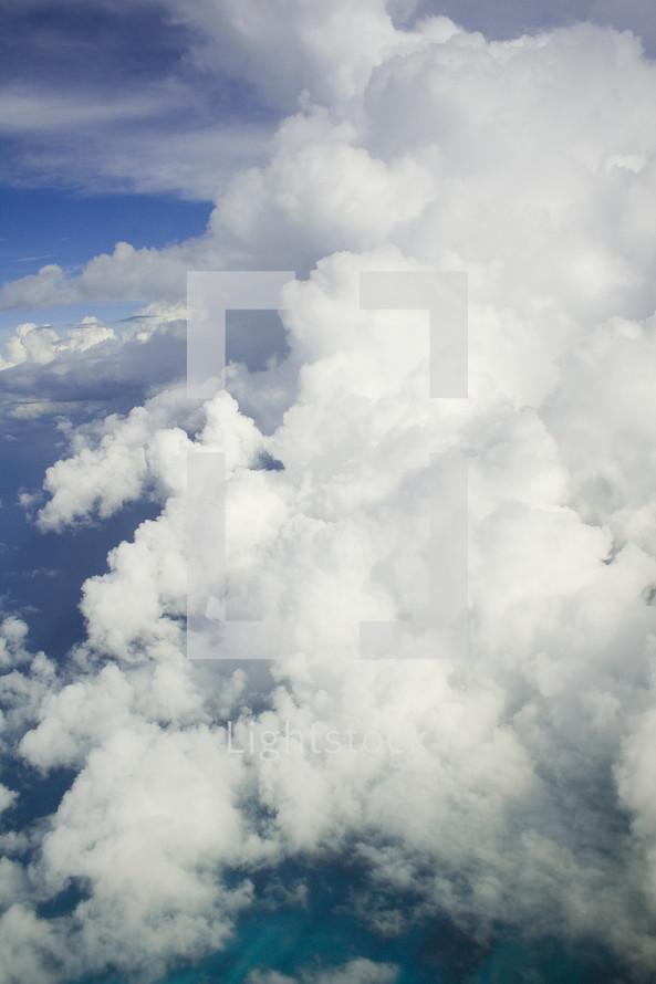 closeup of white clouds