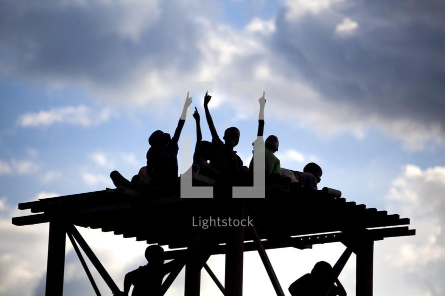 Children on top of pavilion