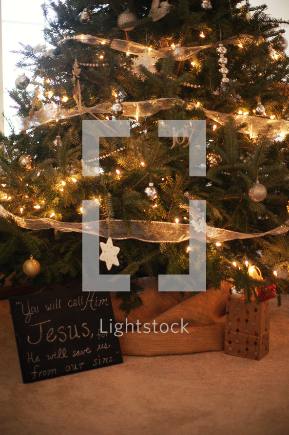 A Christmas tree with a chalk board that reads, 'You will call his name Jesus'