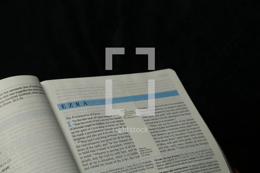 Open book in Ezra