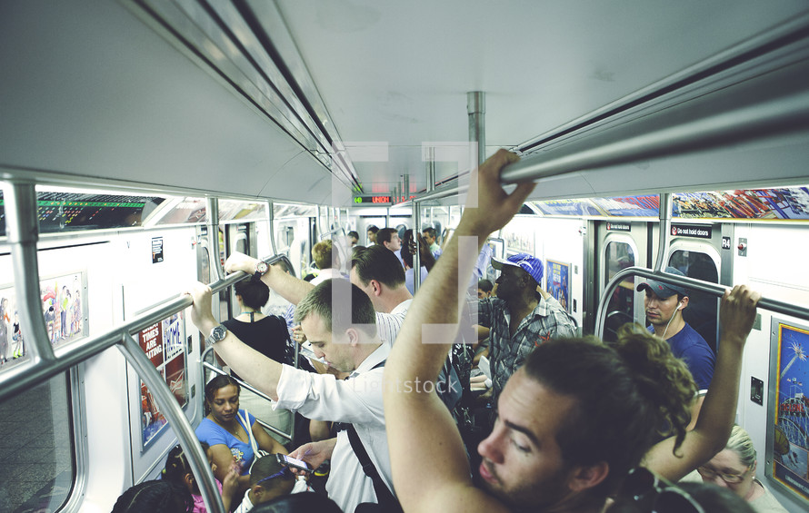 Crowded subway train