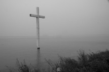cross in a lake