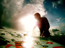 closeup of a surfer in the ocean