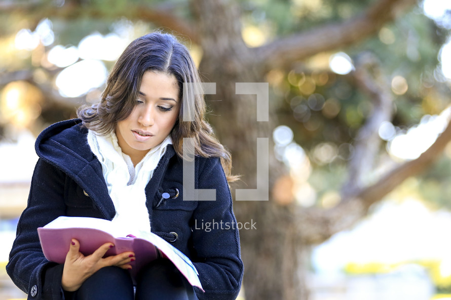 Woman sitting in front or large tree reading the Bible.