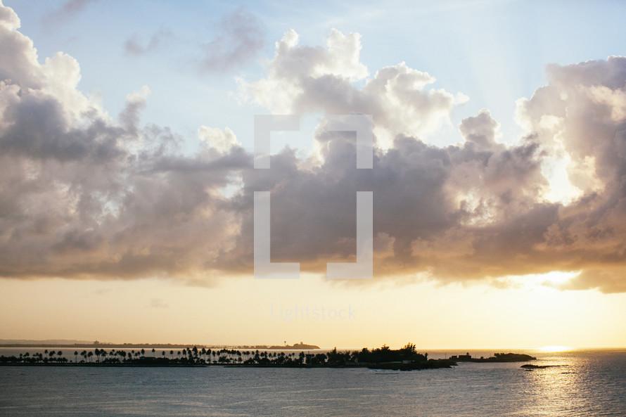 unusual cloud formations over water - ocean