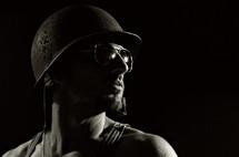 man in helmet and glasses