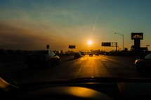 Driving on freeway at sunset highway traffic Los Angeles