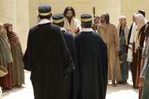 Jesus teaches to a crowd