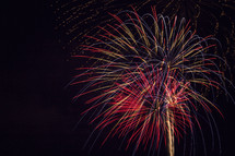 Colorful fireworks exploding in the night sky.