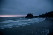 tide washing onto a shore