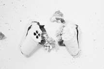 shattered video game controller