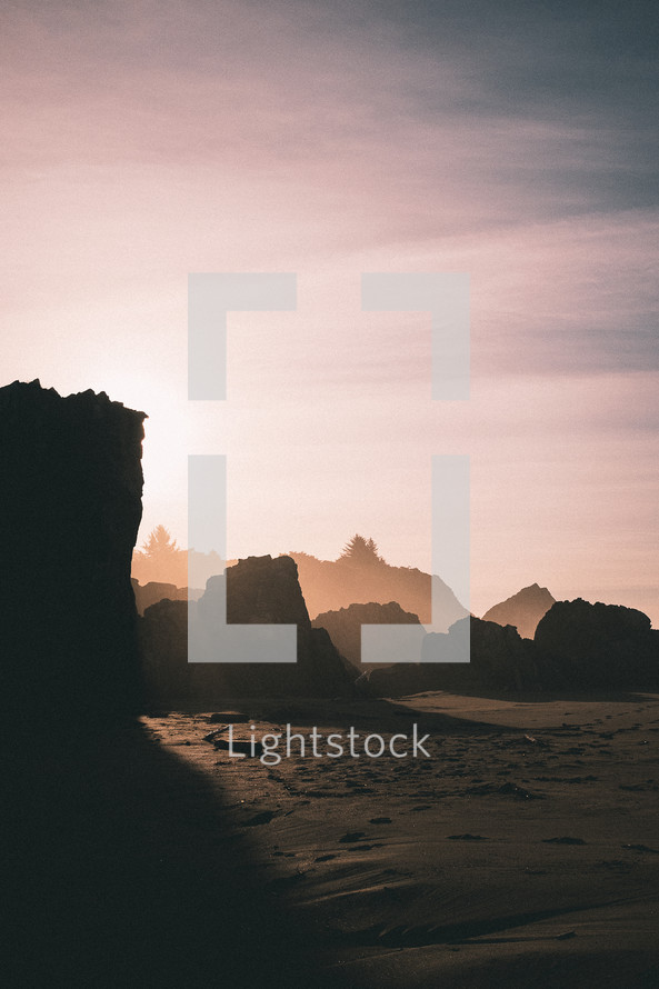 rock formations on a beach