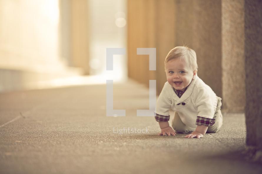 crawling toddler boy