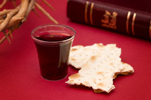 crown of thorns, Bible, communion bread and wine cup