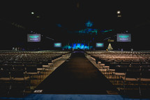 empty rows before a worship service
