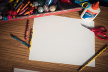 art supplies and blank paper
