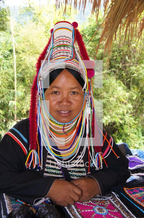 woman in ceremonial tribal wear