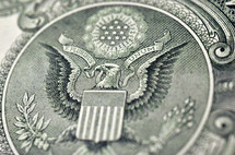 United States seal on money