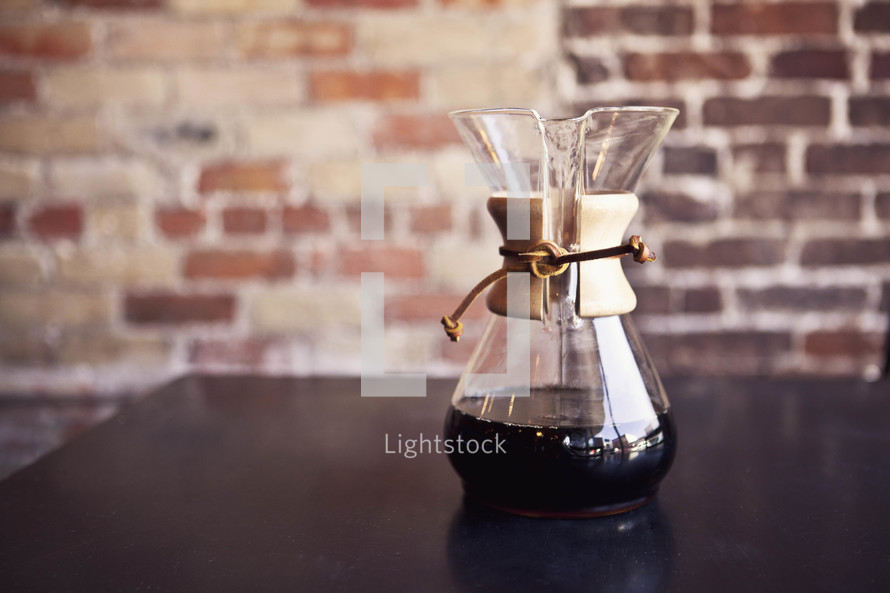 Fresh cup of coffee in a Chemex