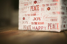 A Christmas present - wrapping paper - Joy and Peace