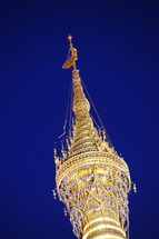 The top of the Buddhist Shwedagon Pagoda