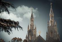 white church steeples