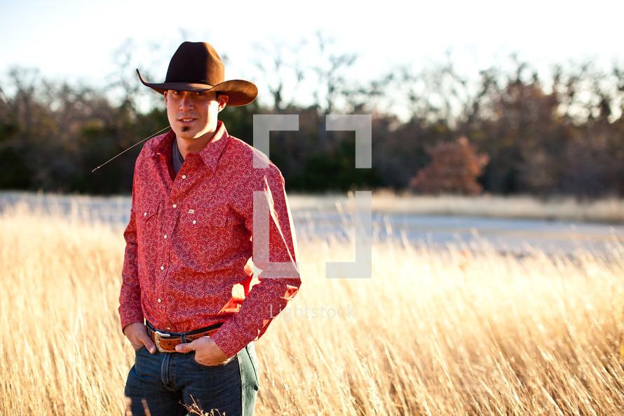 man in cowboy hat in a field