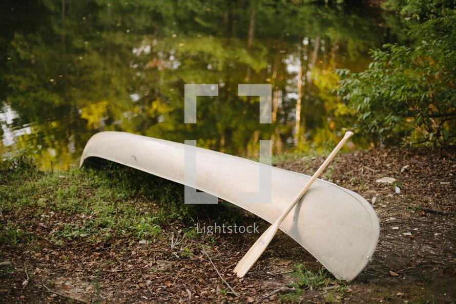 Canoe beside lake shore
