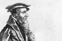 A drawing of John Calvin.