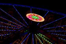 lights on an amusement park ride