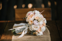 bride's bouquet on a table runner