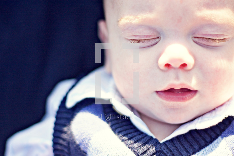 Closeup of infant boy