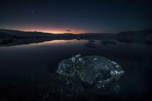 icebergs at night