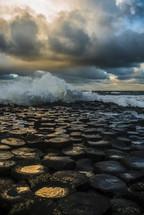 ocean waves crashing on a shore