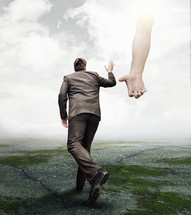 reaching hand of God