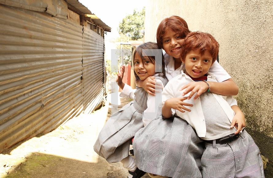 Poor children in gangway