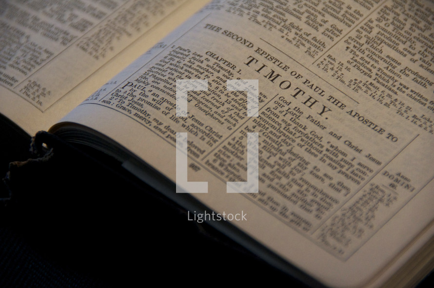Open Bible in the book of II Timothy