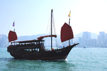 Chinese Junk in Hong Kong Harbor