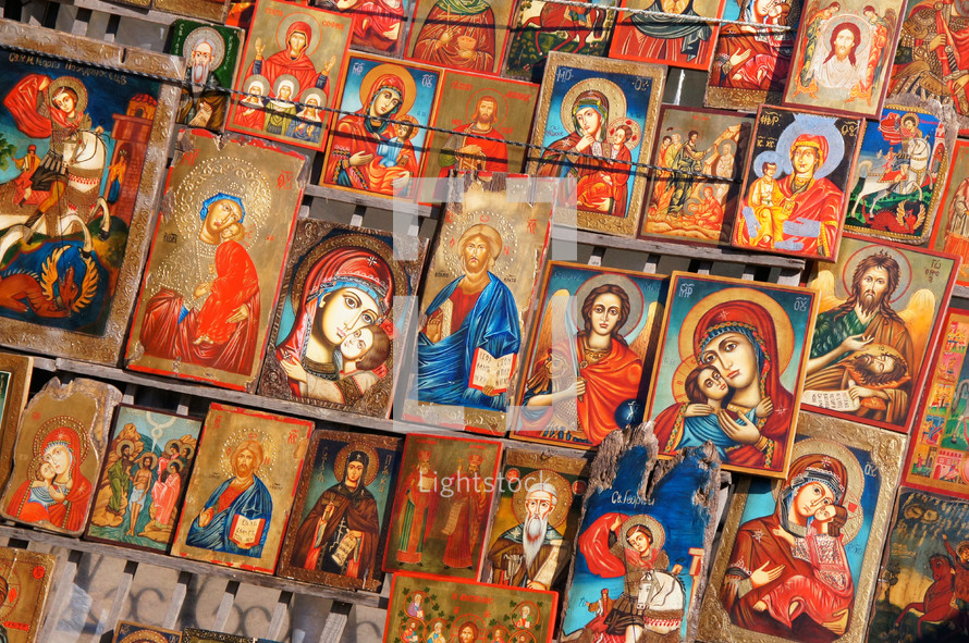 Bulgarian Orthodox Church. Religious Icons. Mary, Jesus & various Saints and disciples