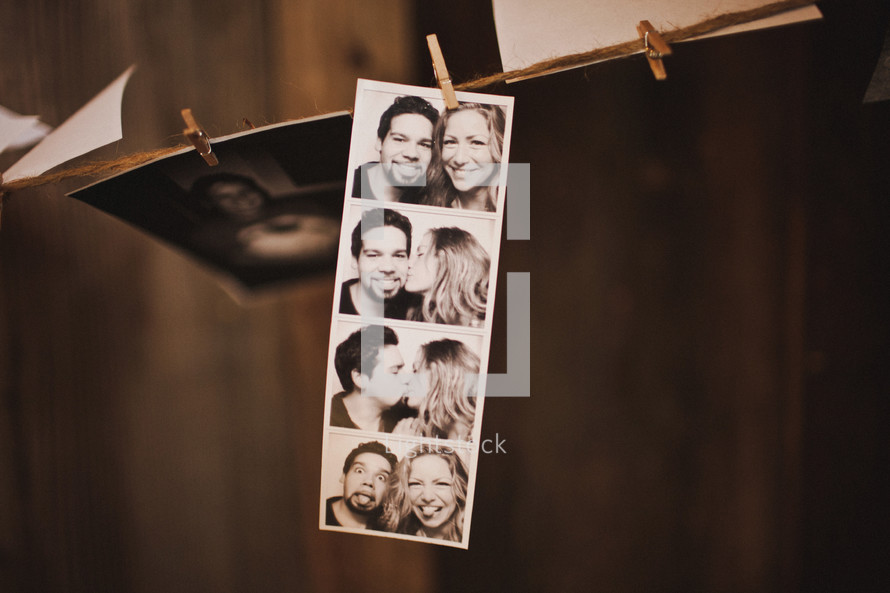 photo booth shots of a couple
