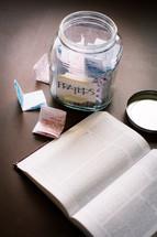 prayer jar and open Bible