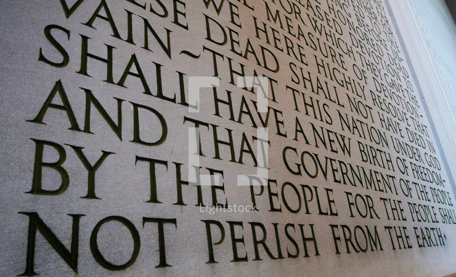The Gettysburg Address etched in stone at the Lincoln Memorial