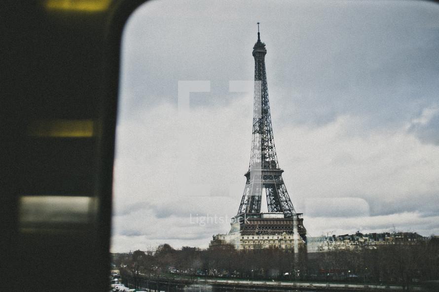 Eiffel Tower viewed through a window