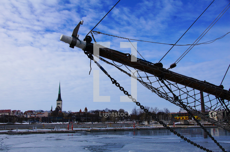 A bowsprit in the front of a ship in dock in Tallinn, Estonia