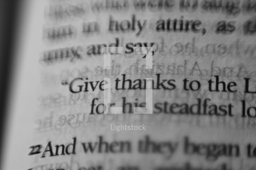 give thanks highlight on the pages of a Bible