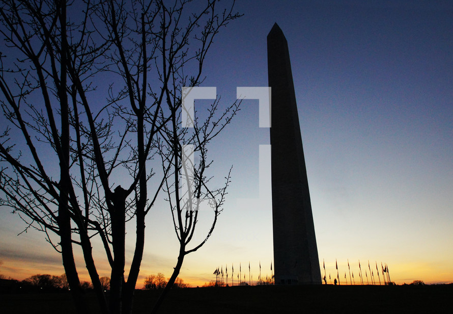 A silhouette of the Washington Monument surrounded by flags at sunset